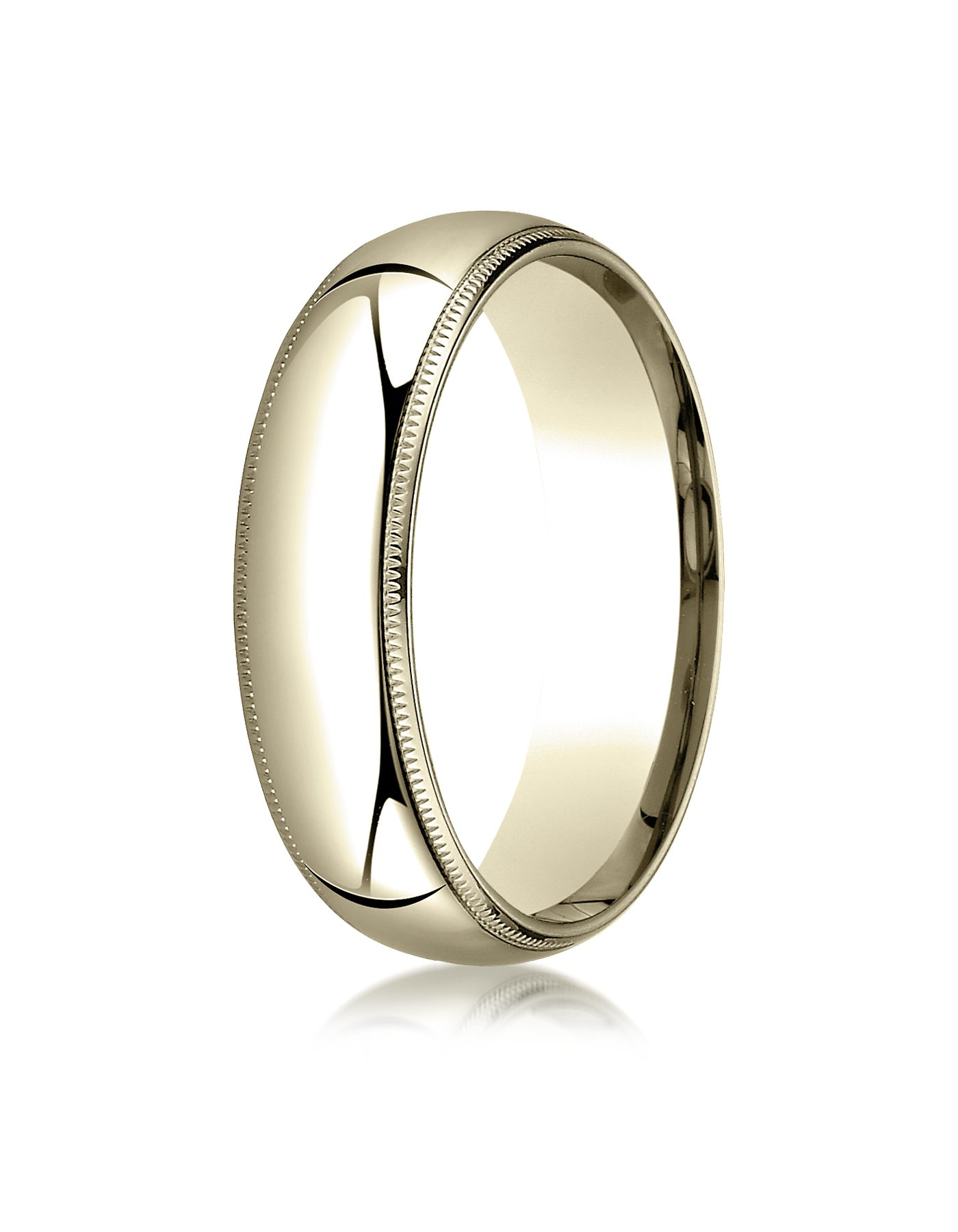 Women's 14K Yellow Gold 6mm Slim Profile Comfort Fit with Milgrain Wedding Band Ring, Size 6 by Aetonal