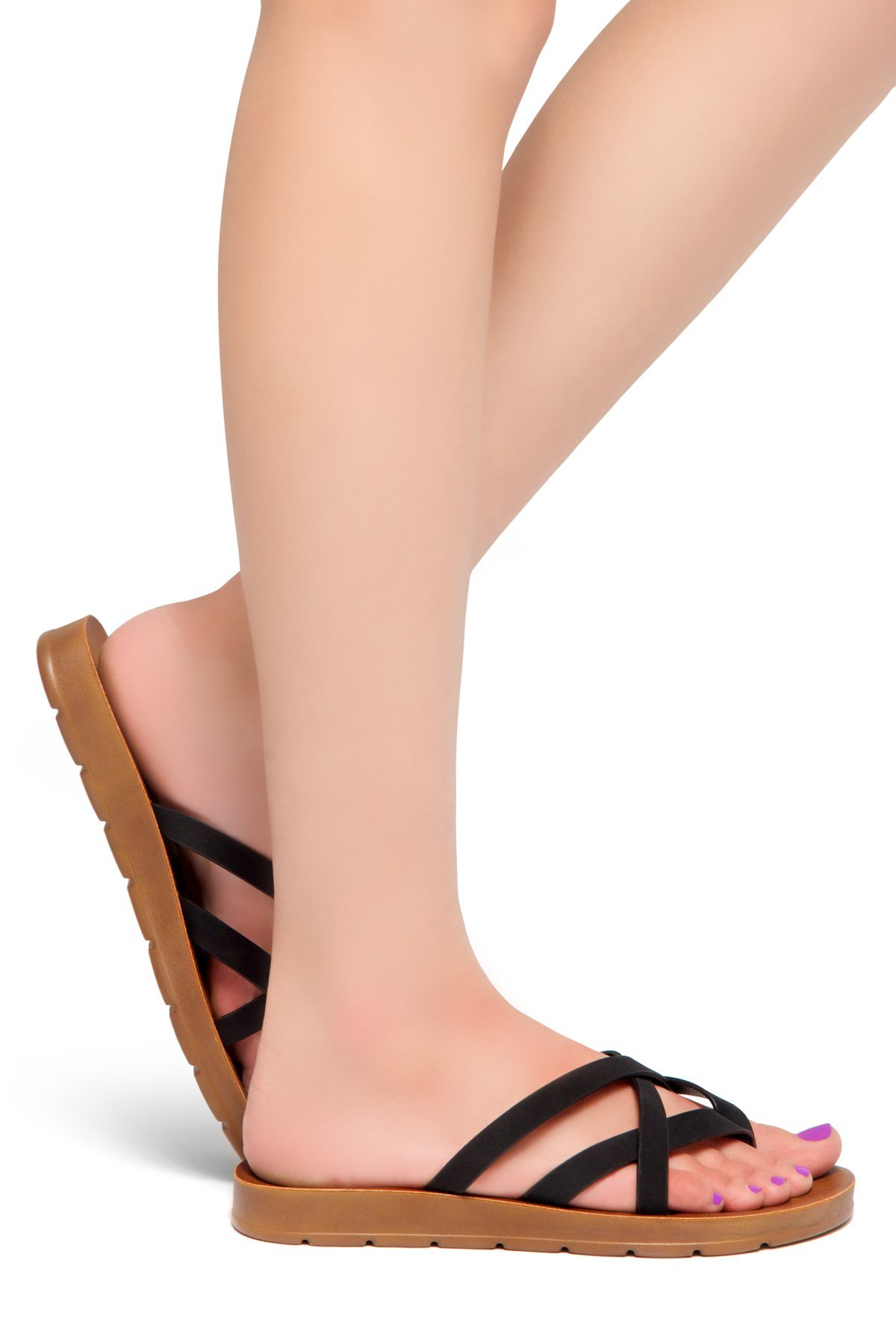 Herstyle Women's Radiate Flat Thong Sandal Black 8.0
