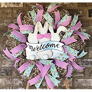 Rustic Spring Easter Bunny Wreath | Spring Easter Decor | Spring Easter Door Hanger | Welcome Wreath | FREE Shipping | Burlap Bowtique 82