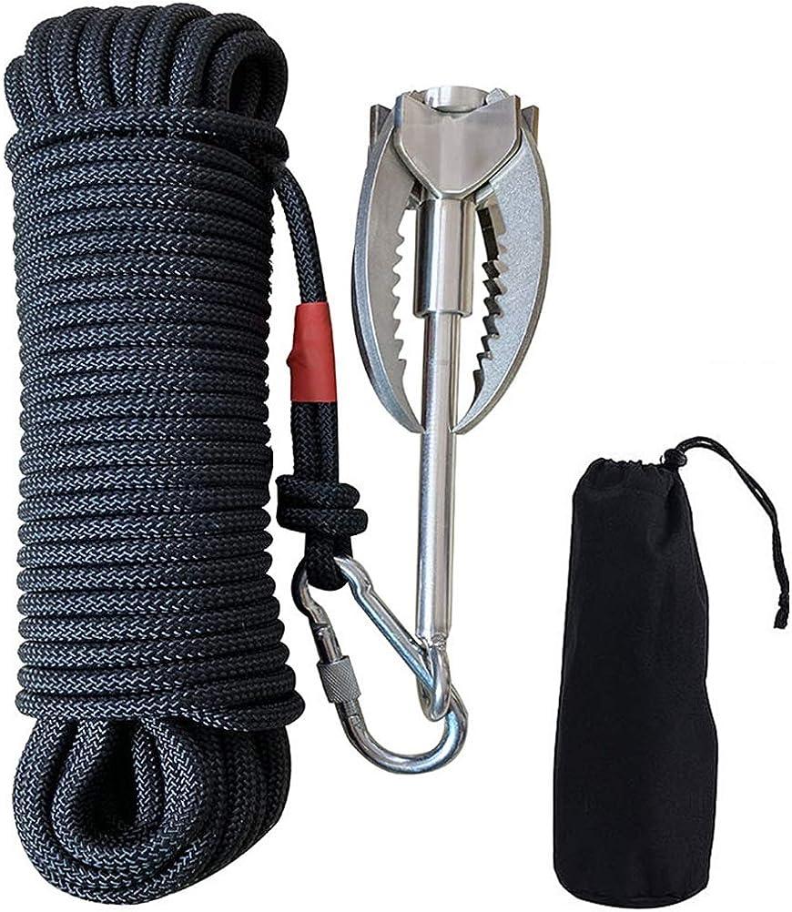 J-ouuo Gancho de agarre de acero inoxidable de 400 kg, gancho de gravedad, con cuerda auxiliar de 20 m, para escalada al aire libre, salvamento bajo ...