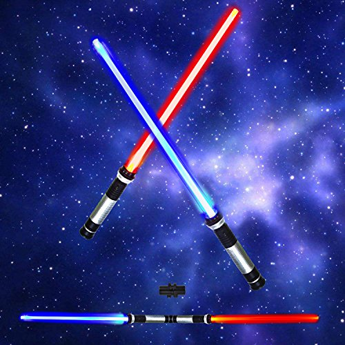 Laser Swords 2-in-1 LED (6 Colors) Light Up Saber Sword Set with Sound (Motion Sensitive) for Galaxy War Fighters and Warriors by Spooktacular (Star Wars Darth Maul Lightsaber)