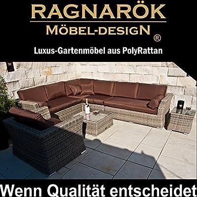 Ragnarök-Möbeldesign - Conjunto de Muebles de jardín, Incluye Cristal y Cojines, Color Natural, Aspecto de Mimbre Circular: Amazon.es: Jardín