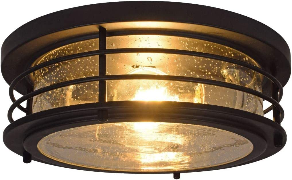 Flush Mount Sylvania 60124 Wellesly Seed Drum Light LED Dimmable Bulb Included Vintage Fixture Antique Black