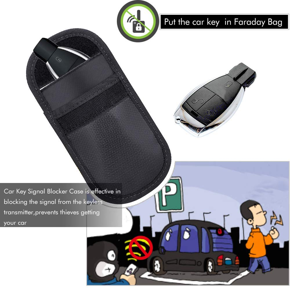 Signal Blocker Autoschl/üssel Signalblockierung Beutel,2 St/ück Feuerfest Auto Key Aufbewahrungstasche Faraday Sicherheit WiFi//GSM//LTE//NFC//RFID//Keyless Entry Fob Kreditkarte Handy Privacy Protector