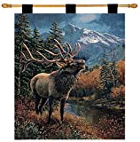 Manual Lodge Collection 26 X 36-Inch Wall Hanging and Finial Rod, Bull Elk Review