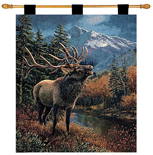 Manual Lodge Collection 26 X 36-Inch Wall Hanging and Finial Rod, Bull - Lodge Mountain Elk