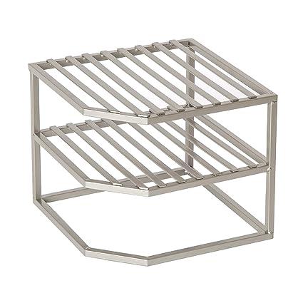 Amazoncom Seville Classics 2 Tier Corner Shelf Counter And Cabinet