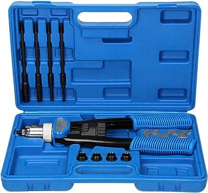 Proster 13 Rivettatrice Professionale Doppoia Maniglia Kit con 100Pz Rivetti M3//M4//M5//M6//M8//M10//M12 e 7 Mandrini Rivettatrice Manuale Resistente Pistola per Rivetti e Dadi per Riparazione Auto