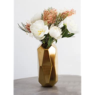 Afloral Gold Maven Ceramic Geometric Cylinder Vase - 8  Tall x 4.25  Wide