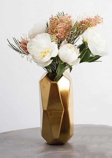 Amazon Accent Gold Maven Ceramic Geometric Cylinder Vase 8
