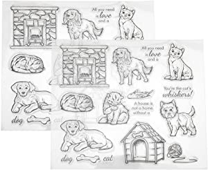 2Pcs Transparent Stamp Set, Clear Rubber Stamp DIY Journal Pet Cat and Dog Pattern for Card Making Decoration and Scrapbooking