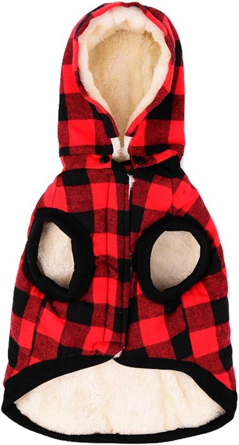 Tineer Ropa para Perros Grandes Mascota Suéter Ropa de Rejilla para Perros Cálido Perrito extraíble Abrigos con Capucha Lindo Chaqueta a Cuadros Sudaderas con Capucha 6 tamaños (XXXL, Red)