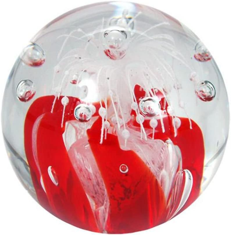6,5-7,0 cm ca Glaskugel Wunschkugel ca Briefbeschwerer 158 Traumkugel klar mit rot wei/ßer Blume