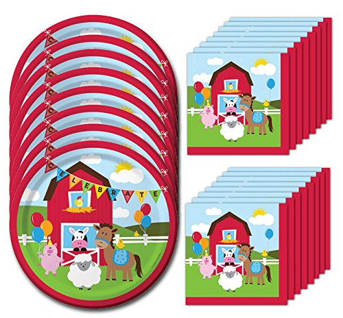 Farmhouse Fun Lunch Napkins & Plates Party Kit for 8
