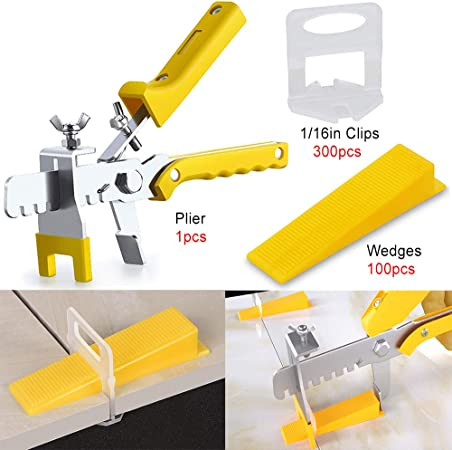 300PCS 1//16 Inch Leveler Spacers Clips /& Reusable 100PCS Wedges Premium Tile Leveling System with Push Pliers DIY Tile Tools Set for Floor /& Wall Construction By Tanek