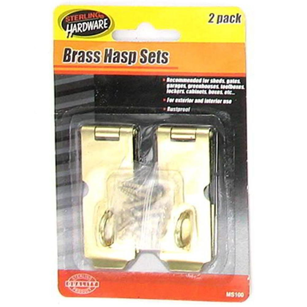2 Pack Brass Hasp Set With Screws - Case of 144