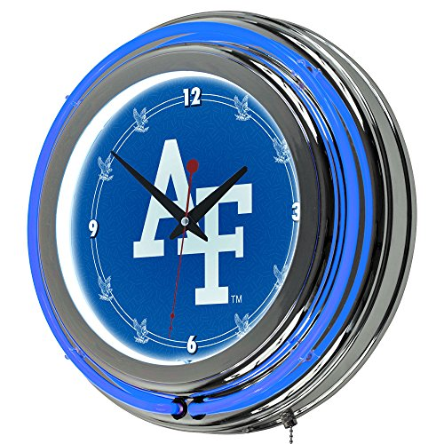 NCAA Air Force Academy Chrome Double Ring Neon Clock, 14