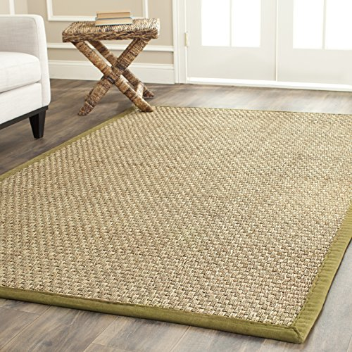 Safavieh Natural Fiber Collection NF114G Basketweave Natural and  Olive Seagrass Area Rug (3' x 5')