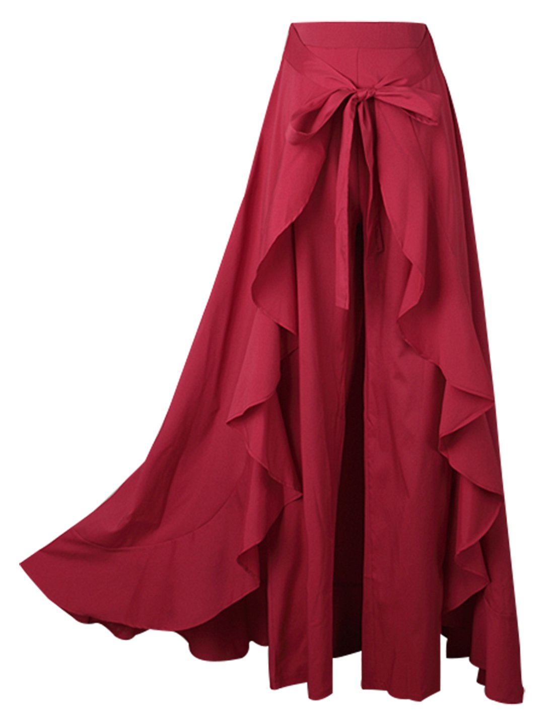 Avitalk Women Ruffle High Waist Pant Skirt Split Chiffon Long Maxi Palazzo Skirt Aivtalk