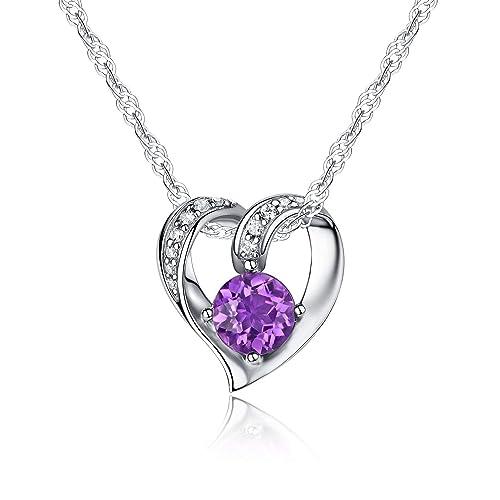 Sterling Silver Necklace Pendant for Women Amethyst Crystal,Blue Topaz Natural Gemstone Birthstone Birthday Gift