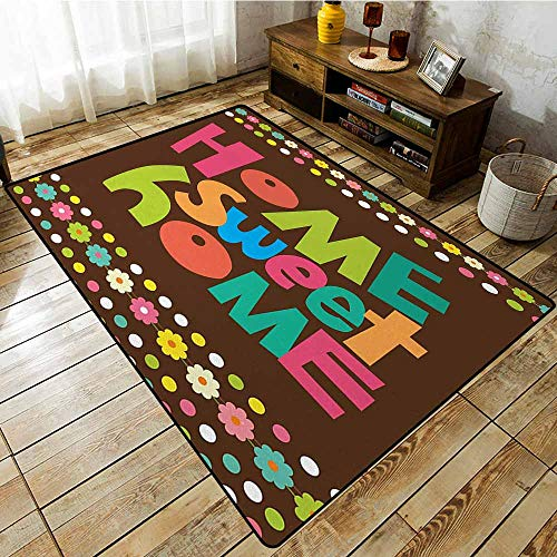 Funky Borders - Bedroom Rug,Home Sweet Home,Retro Cartoon Style Funky Colorful Letters and Floral Borders with Dots,Super Absorbs Mud,5'3