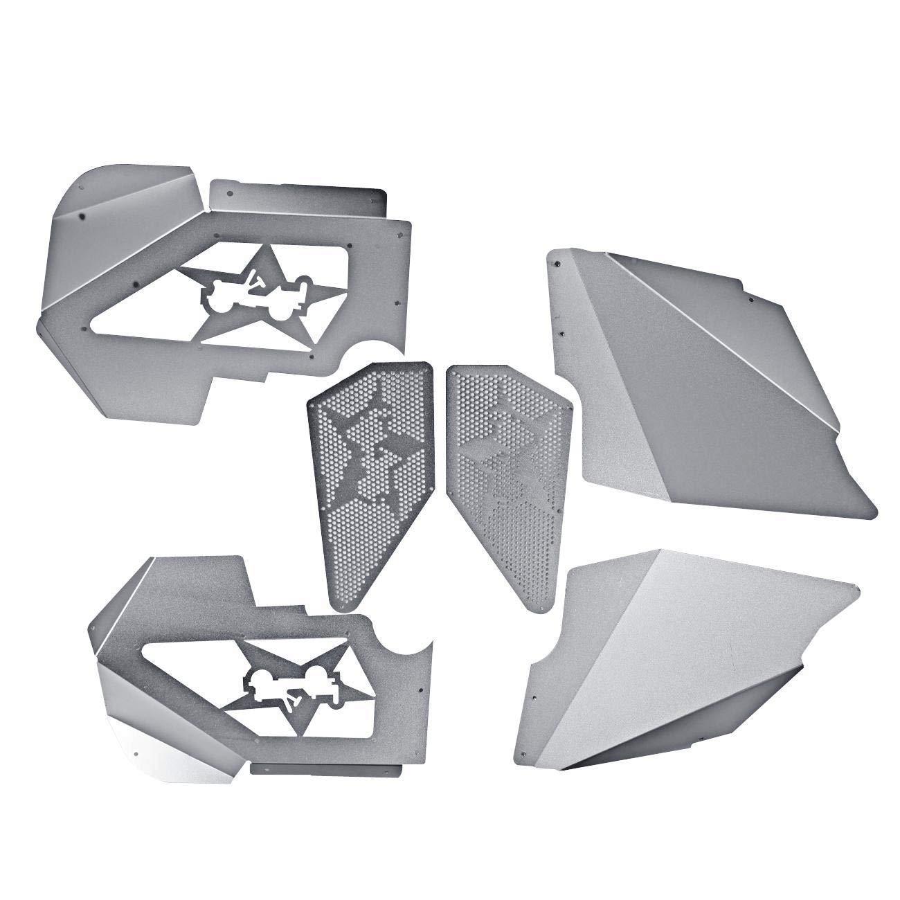IRONWALLS Inner Fenders JK Front Fender Liners Kit for Jeep Wrangler Silver Aluminum Design JK 2007-2017