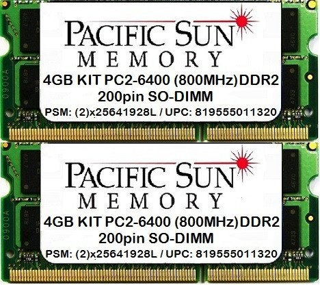 4GB(2x2GB) PC2-6400 (800MHz) SO-DIMM Upgrade for Dell Latitude D830
