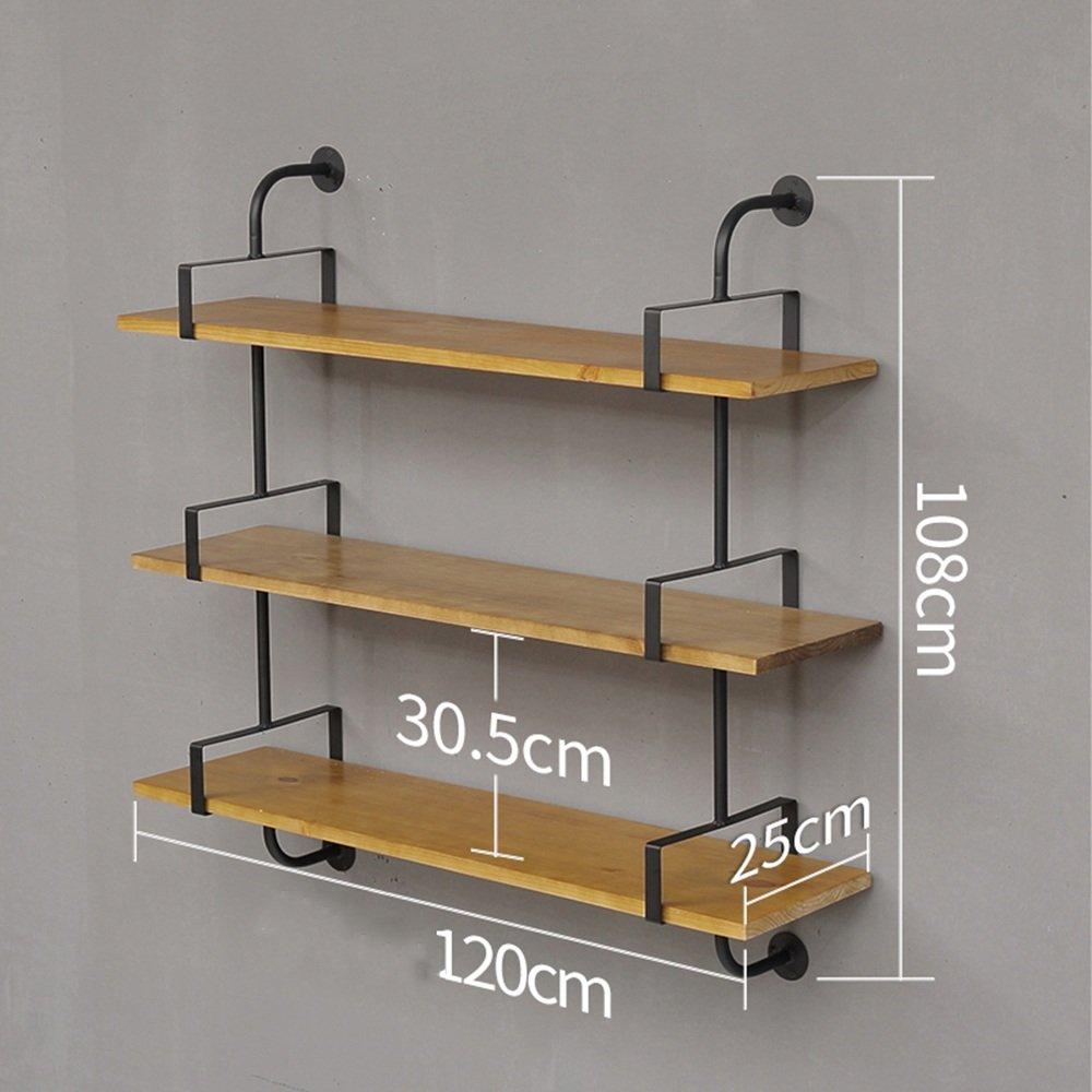 Bücherregal CHUANLAN American Retro Eisen + Massivholz Wasserdicht 3 Schichten Wand Wasserdicht Massivholz und Einfach zu Reinigen Starke und dauerhafte Regale Eine Vielzahl von Größen zur Auswahl a2e821