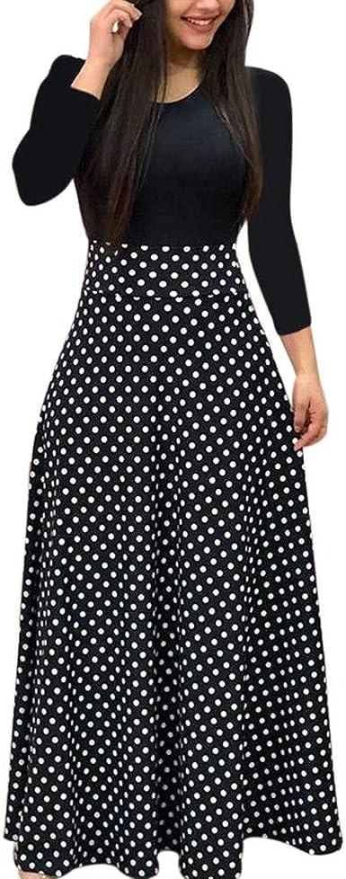 Vjgoal Robe Habillee Femme A Pois Imprime Robe Longue Manche Plisse Robe De Cocktail Amazon Fr Vetements Et Accessoires