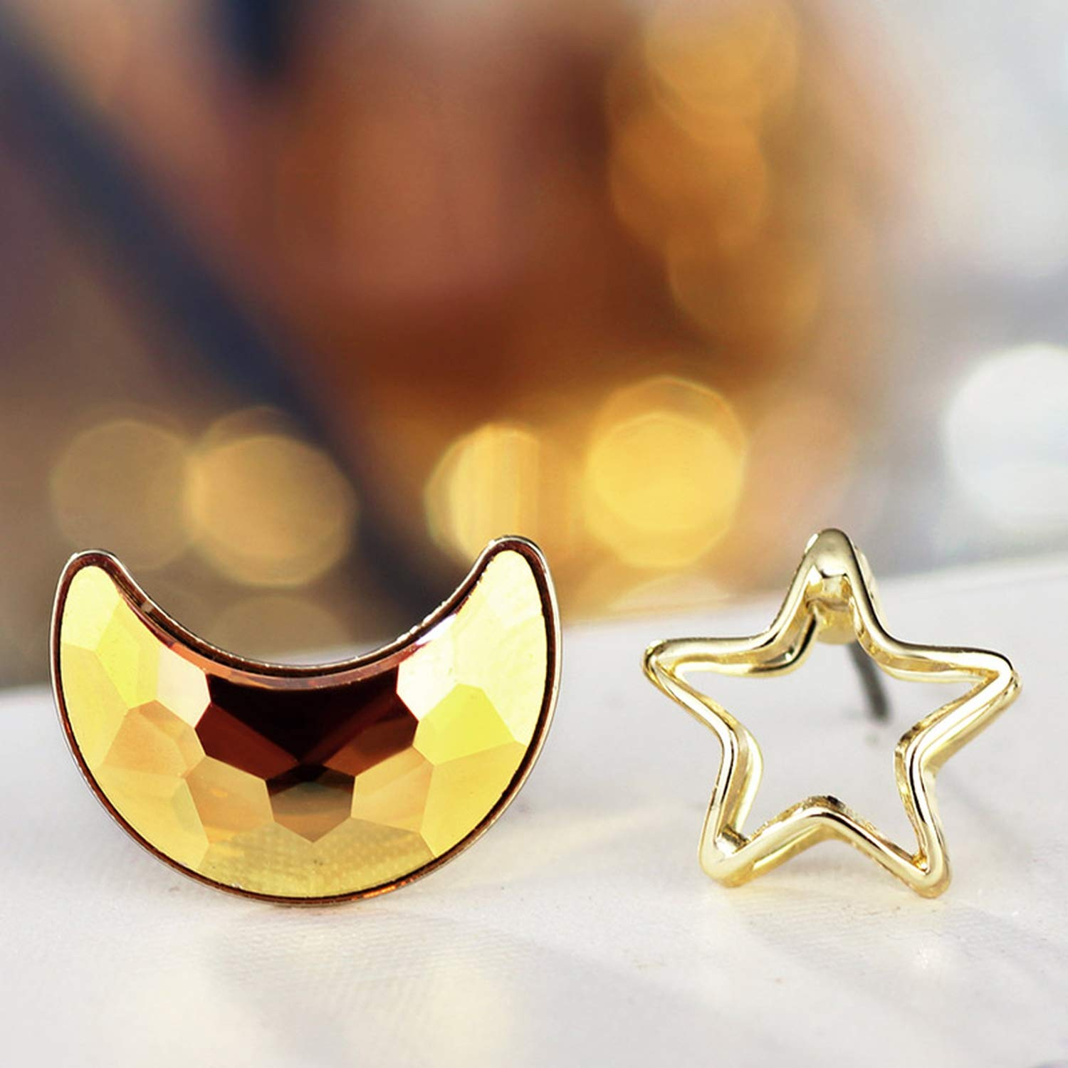 Light Yellow Gold Color Moon Star Rhinestone Stud Earrings Fashion Jewelry 2019 New Birthday Gifts