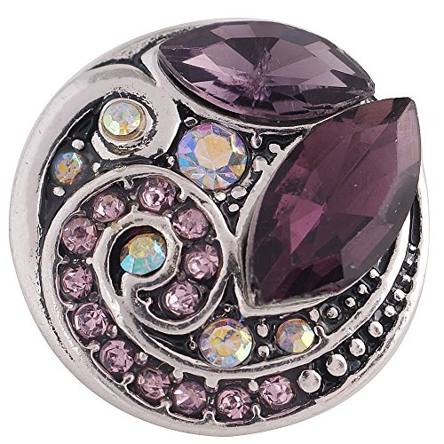My Prime Gifts Interchangeable Snap Jewelry Rhinestone Marquise Purple & Pink Swirl 18-20mm (Swirl Rhinestone Buttons)