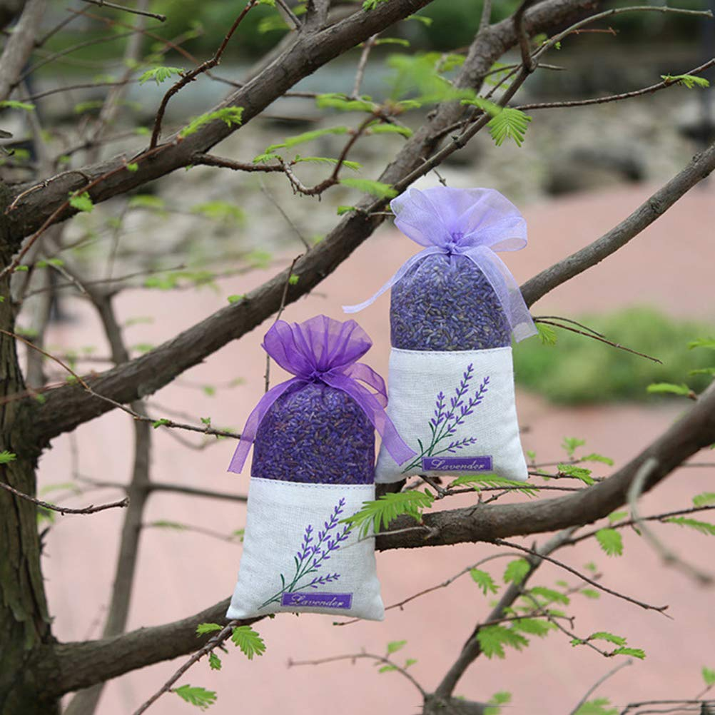 VORCOOL Sachet Bag,30 Pcs Empty Sachets Bag Lavender Sachet Bag Flower Printing Fragrance(Deep Purple)