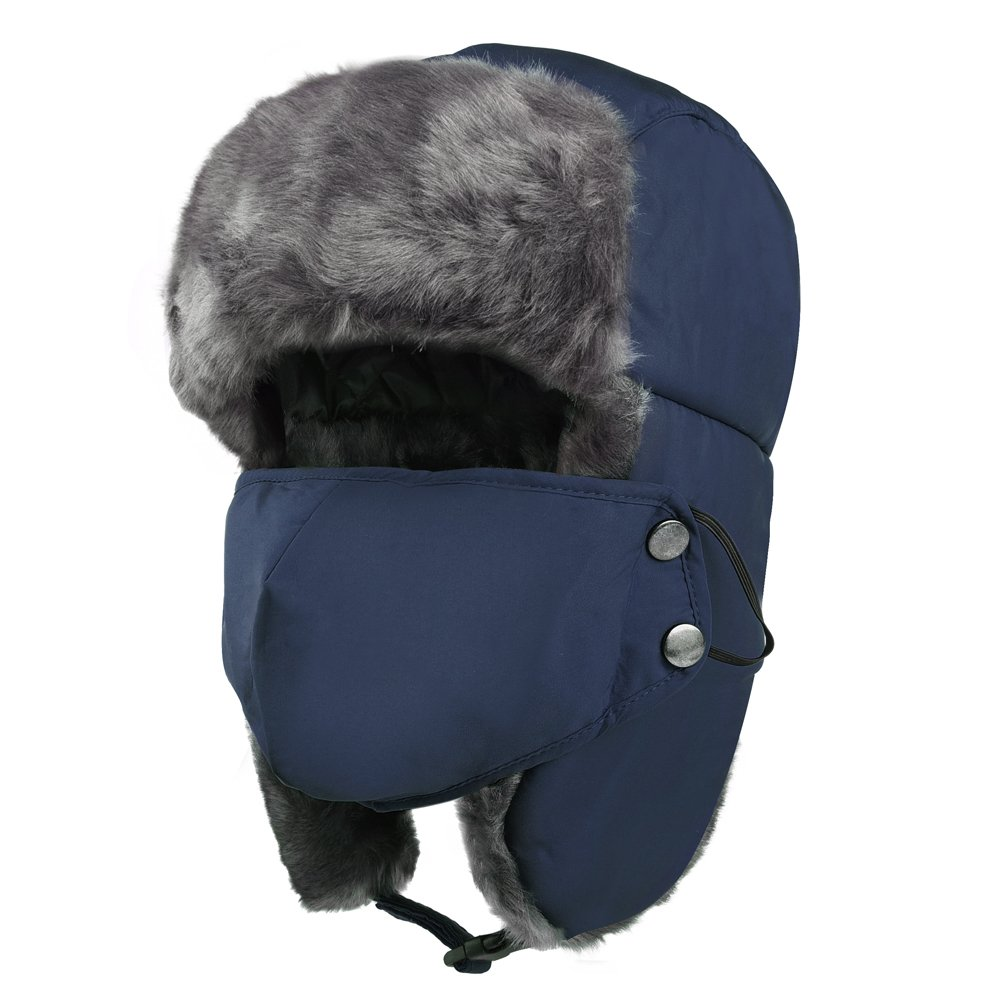 Vbiger Trapper Hat with Ear Flaps Nylon Windproof Winter Warm Hunting Hats for Men & Women (Navy Blue)