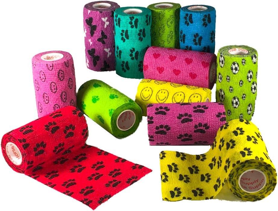 4 Inch Vet Wrap Tape Bulk (Assorted Colors) (6, 12, 18, or 24 Packs) Self-Adhesive Self Adherent Adhering Flex Bandage Rap Grip Roll for Dog Cat Pet Horse 61cFWmo6heL
