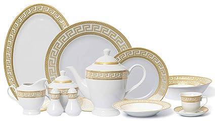 464333f54a6a Royalty Porcelain 57-pc Banquet Dinnerware Set for 8, Bone China (Greek Key