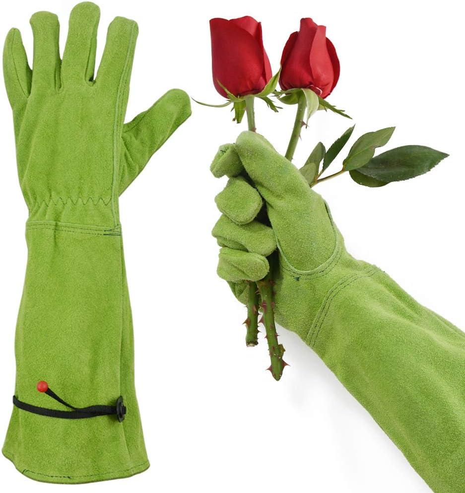 GLOSAV Thorn Proof Gardening Gloves for Women Rose Pruning & Cactus Trimming, Long Sleeve Heavy Duty Ladies Garden Gloves, Cowhide (Medium, Green)