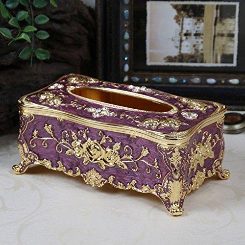 Upscale Zinc Alloy Tissue Box Holder Cover for Home Office Car Ornaments , golden purple , 24x13.8x10.2cm