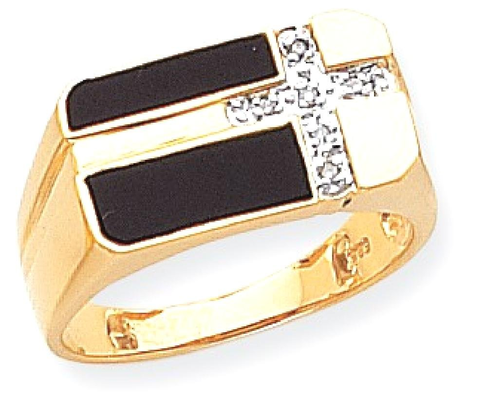 ICE CARATS 14k Yellow Gold Black Onyx Diamond Mens Cross Religious Band Ring Size 10.00 Man Fine Jewelry Dad Mens Gift Set