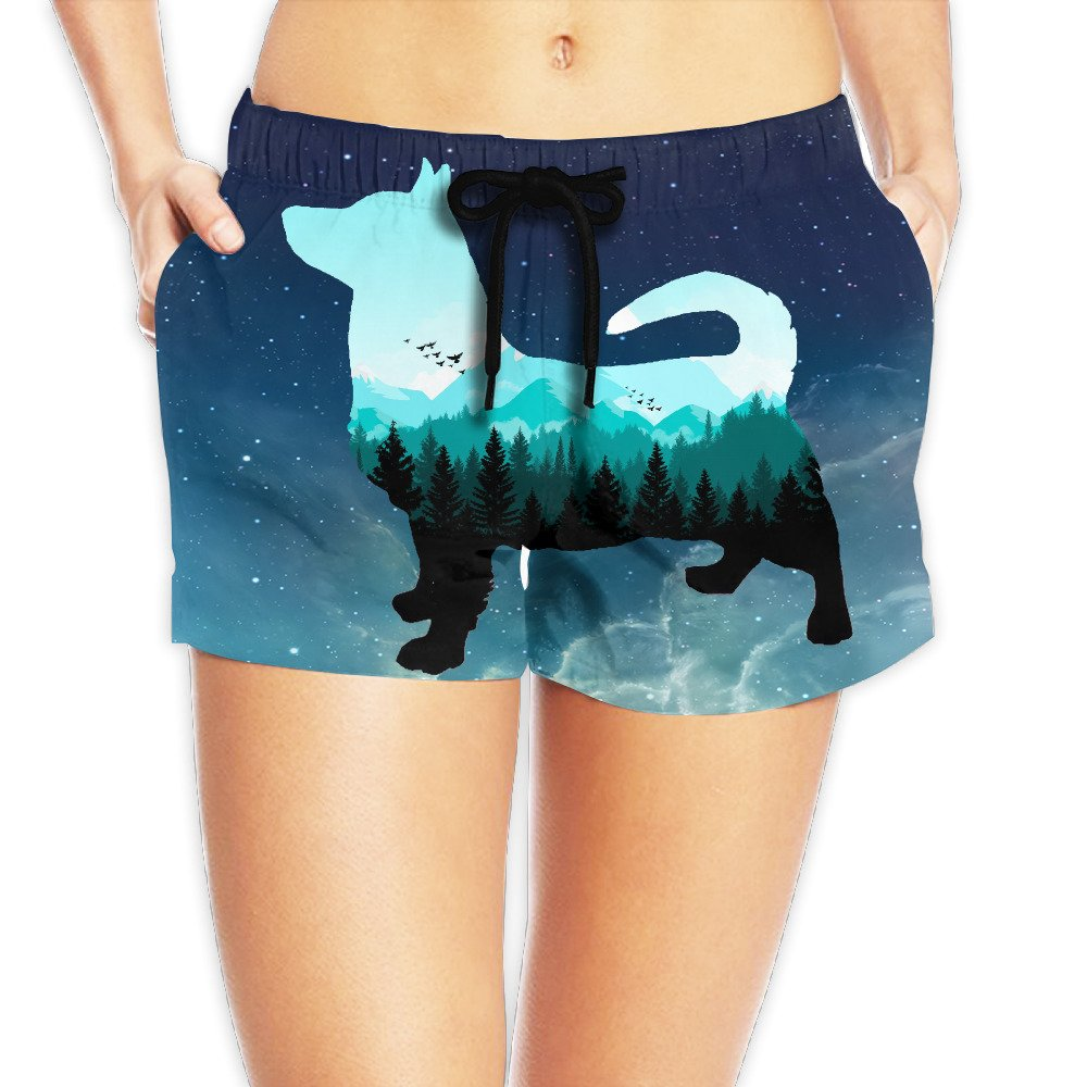 Cool Welsh Corgi Sky Tree Women Board Shorts Beach Shorts Summer Swim XL by Water-fan