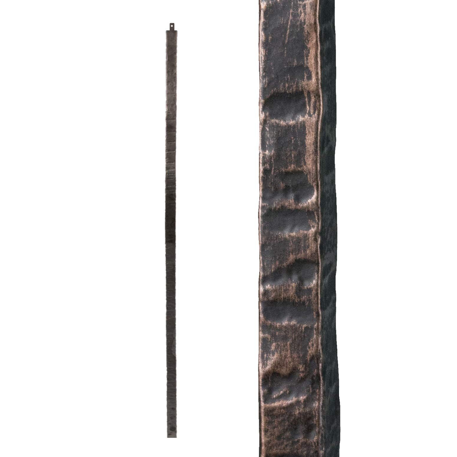 Oil Rubbed Bronze 1.1.23 Square Hammered Plain Iron Newel Support Post for Stair Remodeling by House of Forgings