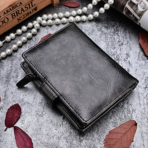 VRLEGEND Clutch Purse Handbag Evening Bag Women Leather Wallet Purses Party (Black2)