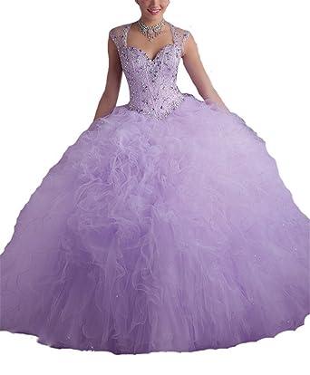 Zhoumei Women\u0027s Ruffled Prom Gown Sweet 17 Long Quinceanera