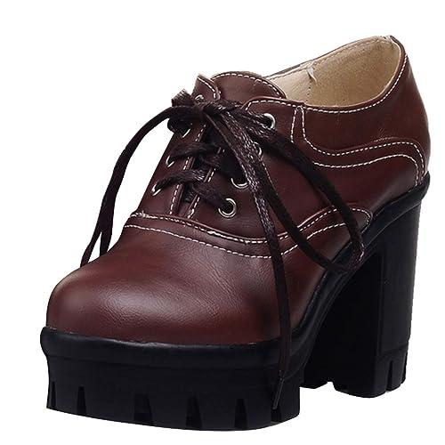 b7b84f655874fb AIYOUMEI Damen Schnürstiefeletten Blockabsatz Ankle Boots High Heels Plateau  Stiefeletten mit Schnürung Braun 34 EU