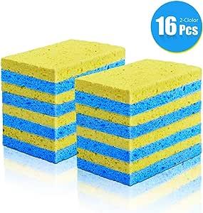 MASTERTOP 16Pcs / Pack Esponja de Celulosa Biodegradable Natural para Cocina Esponjas de Lavavajillas Multifuncionales,Esponja de Pulpa de Madera Ecológica para Garaje, Cocina, Baño,Amarillo y Azul: Amazon.es: Hogar