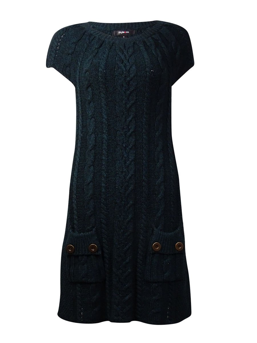Style & Co Petite Cable Knit Tunic Dress Black/Evergreen PS