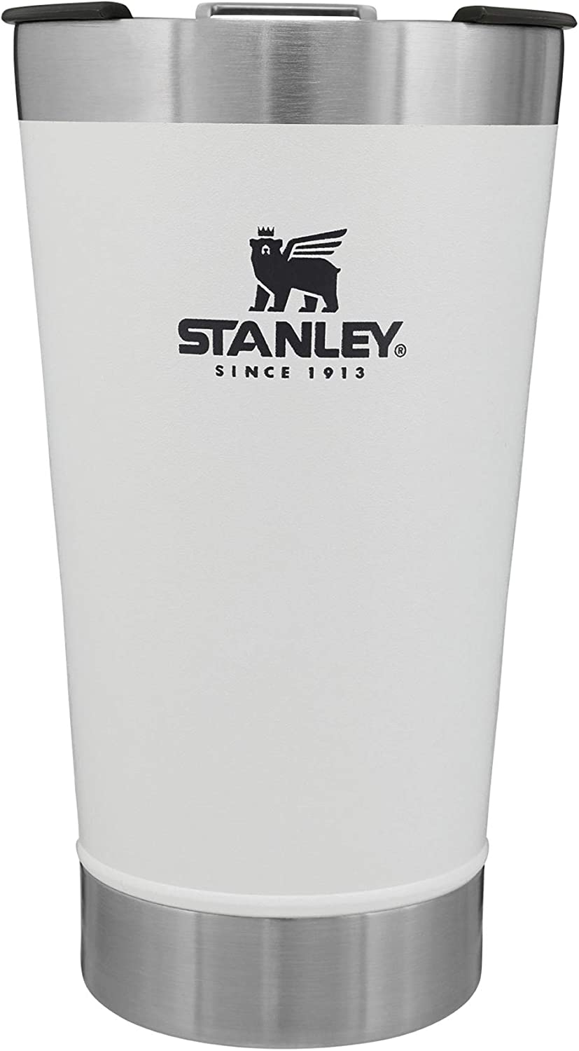 Stanley Classic Stay Chill Vacuum Insulated Pint Glass Tumbler, 16oz Stainless Steel Beer Mug with Built-in Bottle Opener, Double Wall Rugged Metal Drinking Glass, Dishwasher Safe Insulated Cup
