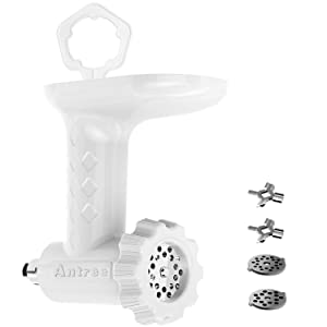 Antree Antree01 Food Grinder Attachment for KitchenAid Stand Mixers Includes Two Stainless Steel Blades and Grinding Plates White