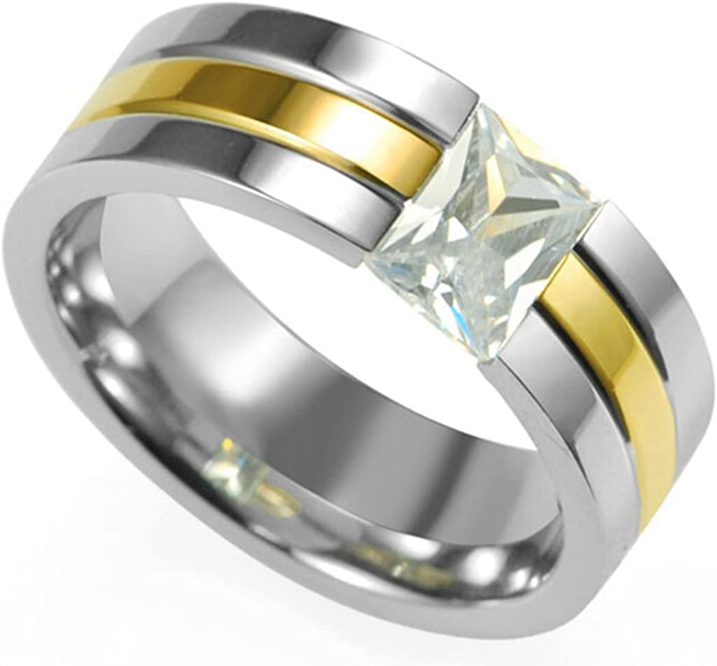 Jude Jewelers 8MM Stainless Steel Silver Gold Two-Tone Princess Cut Wedding Band Ring