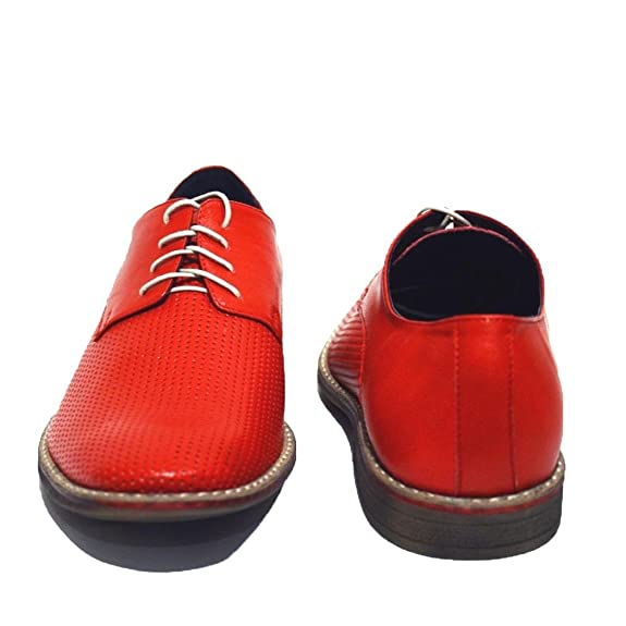 Modello Pesaro - 43 EU - Cuero Italiano Hecho A Mano Hombre Piel Rojo Zapatos Vestir Oxfords - Cuero Cuero Suave - Encaje gWu1K