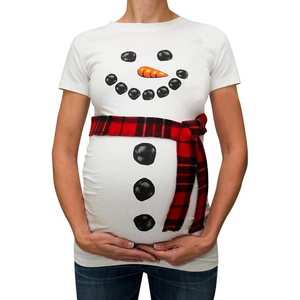 QinMM Camiseta de premam/á de Navidad Maternidad para Mujer Embarazadas Pullover Tops Blusa Manga Carta Camisa